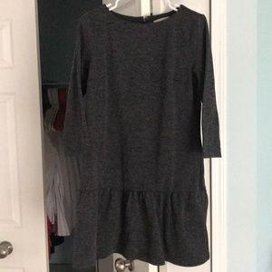 Loft Charcoal Gray 3/4 Sleeve Flounce Dress